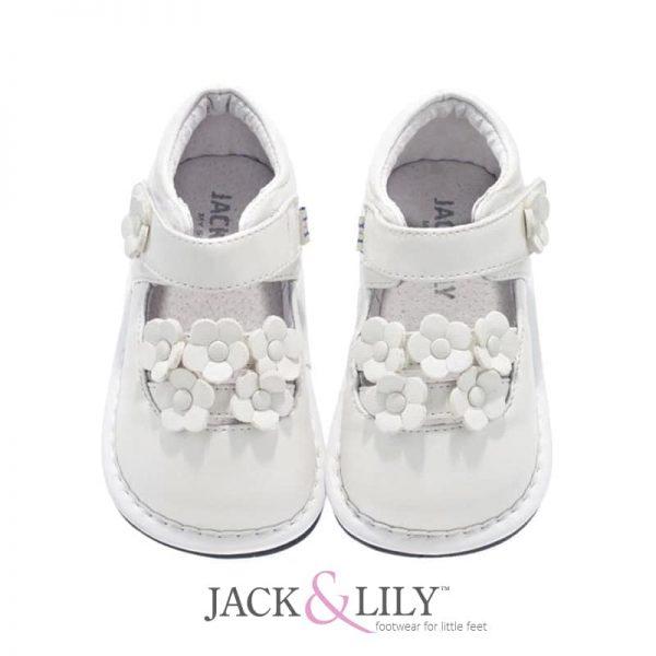 סנדל פרחים קטנים לבן- shoes