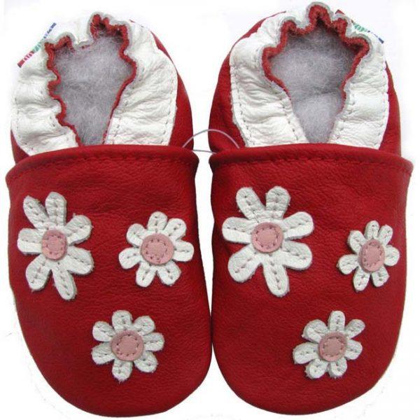 נעלי טרום הליכה פרחים אדום