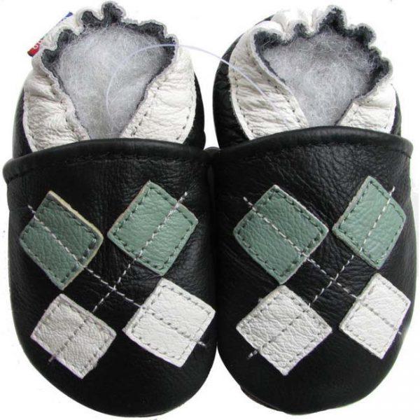 נעלי טרום הליכה ריבועים שחור